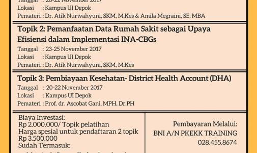 Pelatihan (Unit Cost-Efisiensi RS-DHA) CHEPS UI November 2017