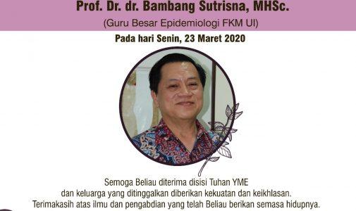 Telah Berpulang Prof. Dr. dr. Bambang Sutrisna, MHSc, Guru Besar Epidemiologi FKM UI